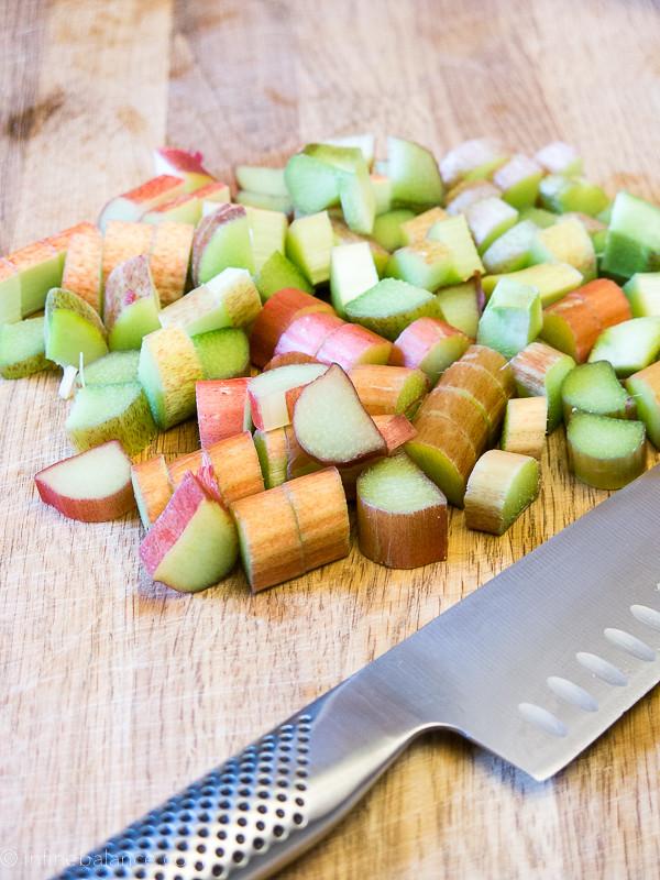 chopped rhubarb on a cutting board