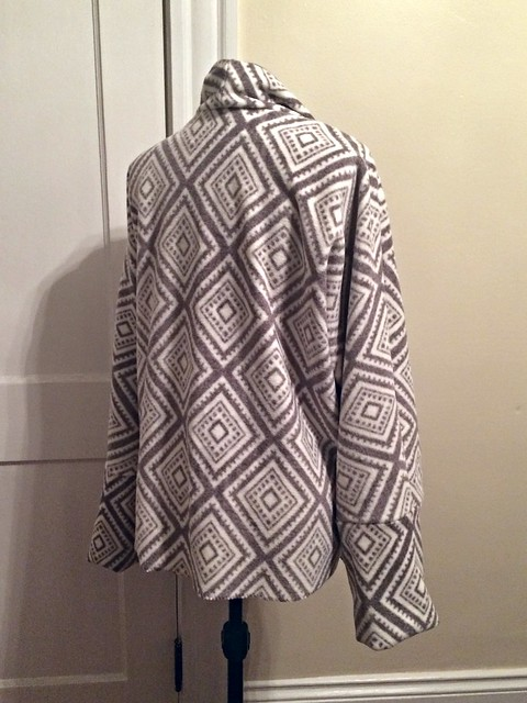 Fleece drape front sweater