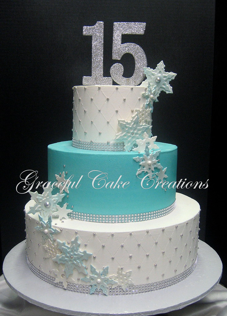 Elegant White And Tiffany Blue Quinceanera Cake Accented W