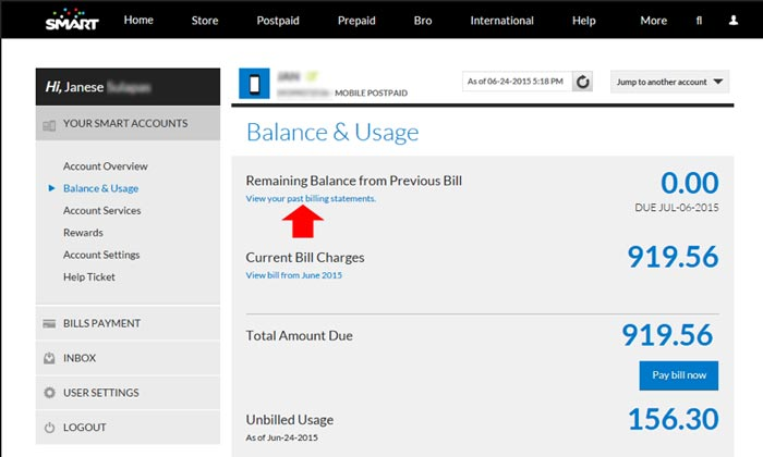 how to get smart billing statement online step 4