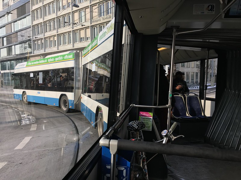 Inside of a double articulated bus in Zurich, Switzerland
