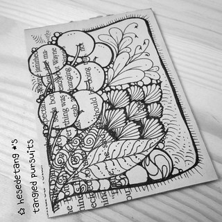 Zentangles - New tangle Cabbit and Diva Challenge Wk 222 (4/6)
