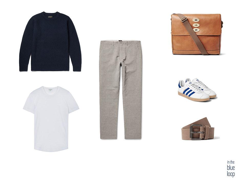 Los pantalones de pierna ancha se mezclan con jersey, camiseta blanca, cinturón, sneakers y bolso messenger masculino