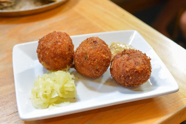 fried boudin with pickled peppers