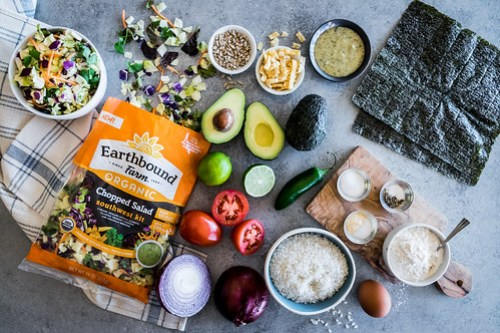 Earthbound Farm's organic southwest chopped salad kit is the foundation for these sushi wraps