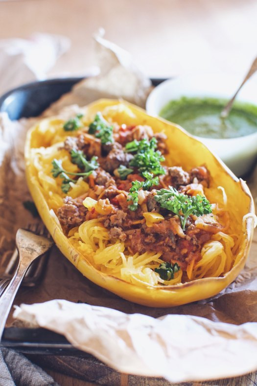 Beef and Veggie Tomato Sauce on Spaghetti Squash with Parsley Caper Sauce