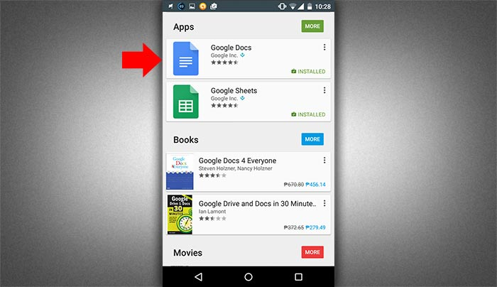 How to create word doc in smartphone step 1