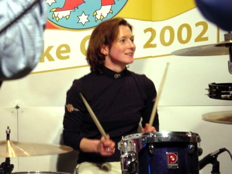 Claudia Pechstein on drums