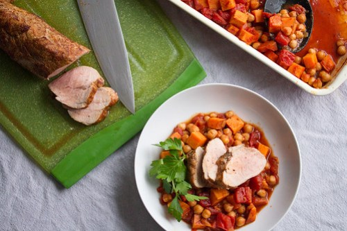 Roast Pork Tenderloin with Chickpea Stew
