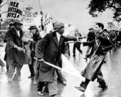 Scottsboro pickets clash with police at Supreme Court: 1932