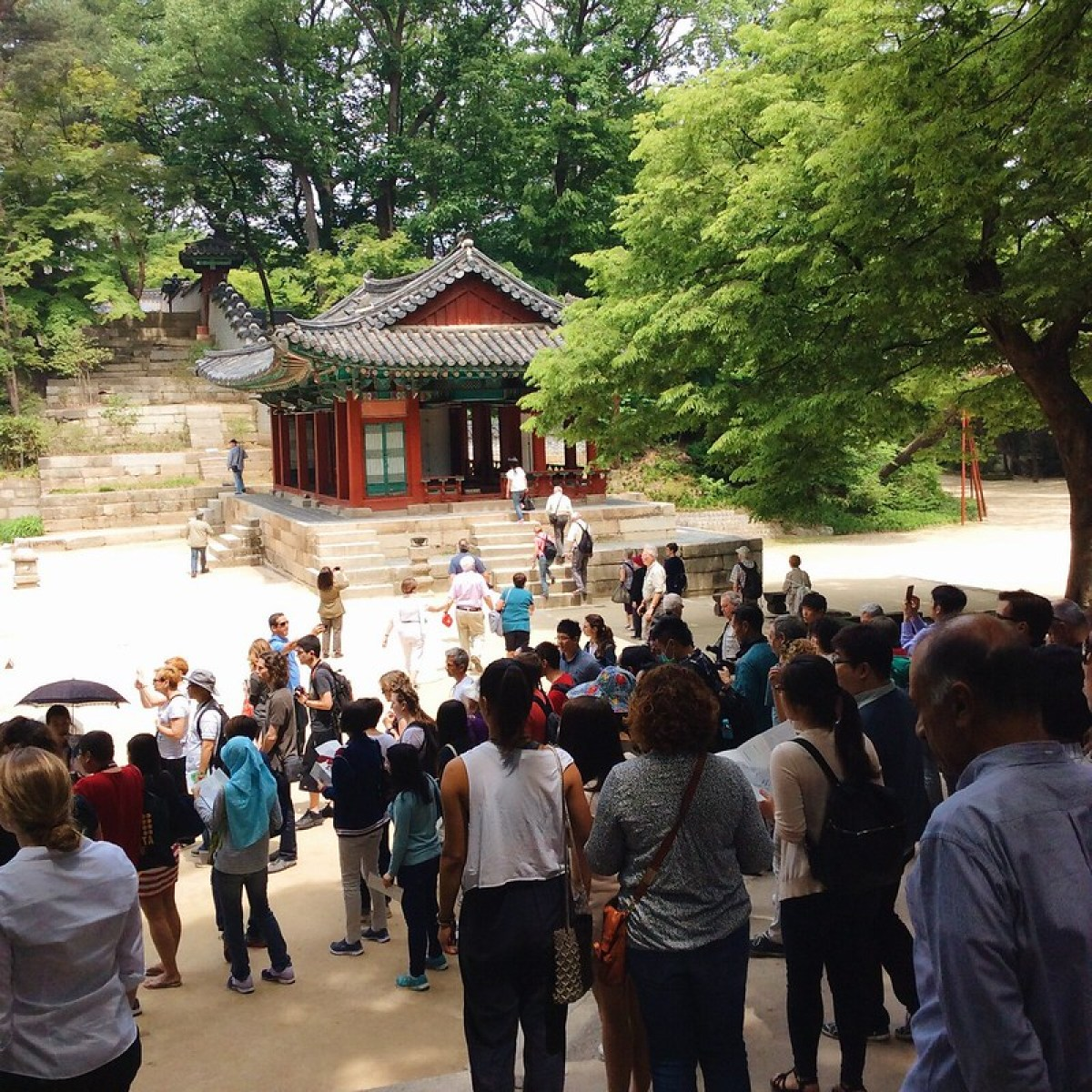 The tourists in the English tour of huwon in secret garden