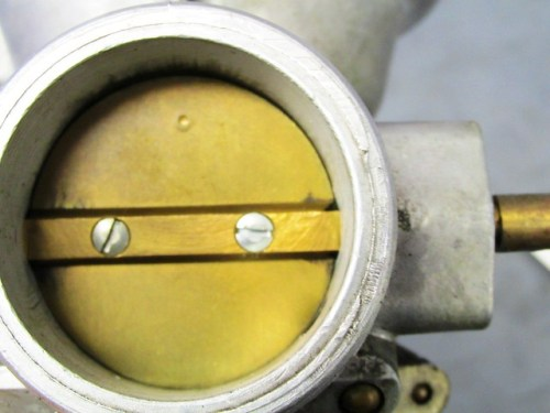 Right Carburetor Butterfly Plate - Punch Mark at Top on Screw Side of Shaft