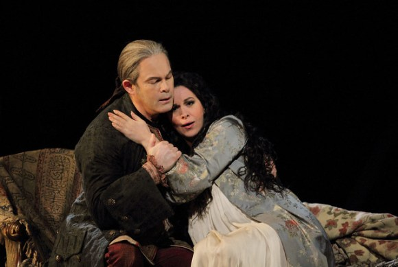 Gerald Finley and Angela Gheorghiu in Adriana Lecouvreur, The Royal Opera © ROH 2017. Photo by Catherine Ashmore