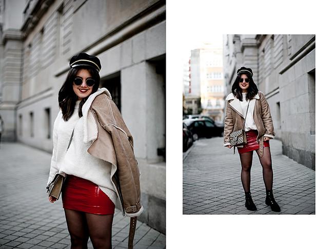 falda charol rojo chaqueta borreguillo botas militares terciopelo stradivarius streetstyle7