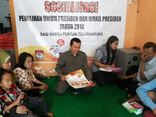 Dokumen Sosialisasi KPU Tulungagung kepada kelompok Disabilitas saat Pilpres 2014 lalu.