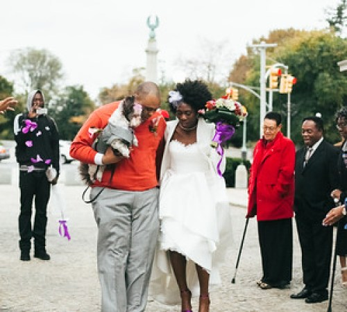 Halloween pop-up wedding in Brooklyn from @offbeatbride