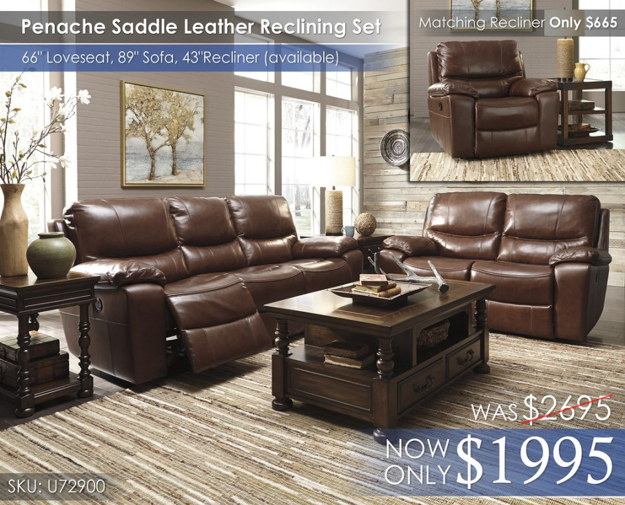 U72900 Penache Saddle Leather Reclining Sofa & Loveseat