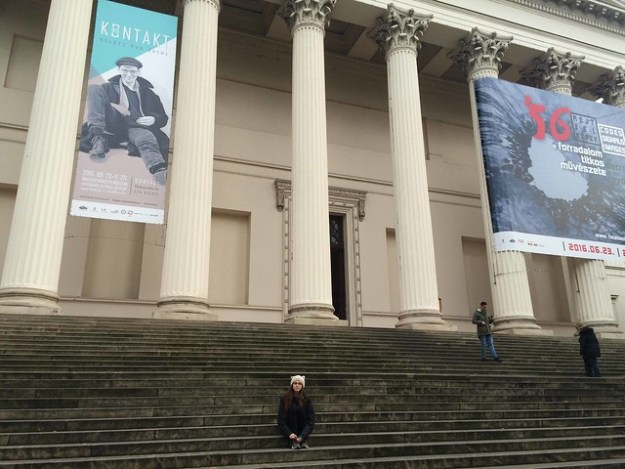 Briana on Steps of Hungarian Museum