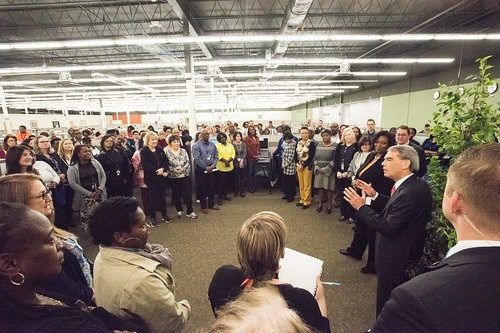 U.S. Department of Agriculture Acting Deputy Secretary Michael Young visits the staff of the USDA Office of the Chief Financial Officer (OCFO) National Finance Center's (NFC) Alternate Worksite Facility near Shreveport, LA, at Bossier City, LA, on Monday Feb 13, 2017.