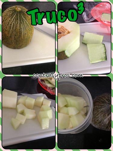 Truco para pelar un melón o una sandía