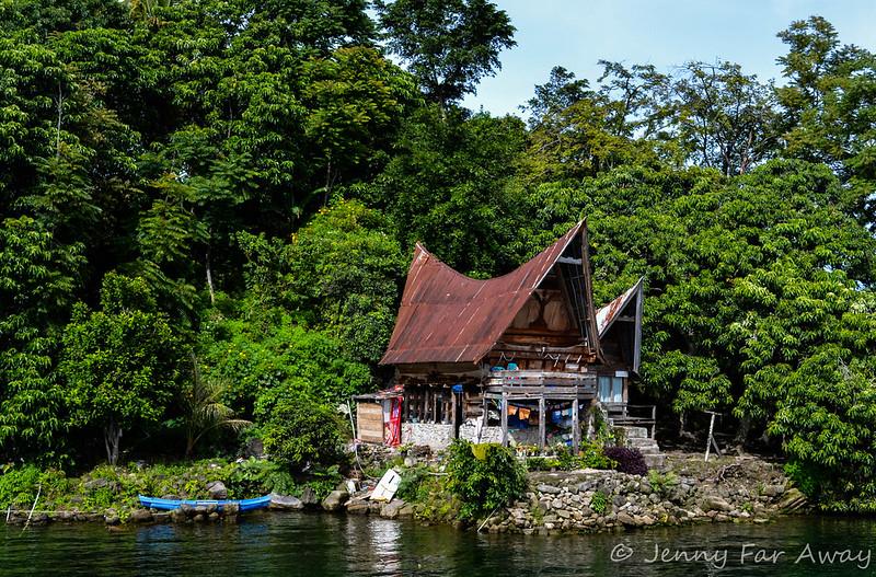 A Batak house on Lake Toba, Sumatra.