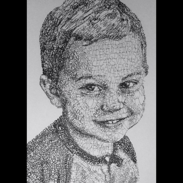 Portrait made completely out of words of a child. The word ...
