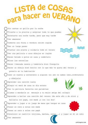 Lista de cosas que hacer en verano para niños. Imprimible gratis