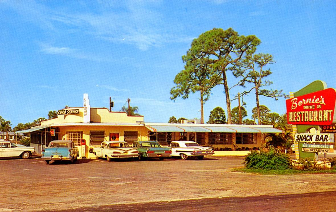 Bernie's Drive In Restaurant - 3452 South Cleveland Avenue, Fort Myers, Florida U.S.A. - early 1960s