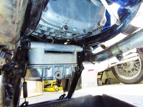 Degreased Bottom of Transmission and Engine Oil Pan