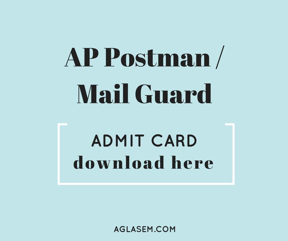 AP Postman Admit Card / Hall Ticket