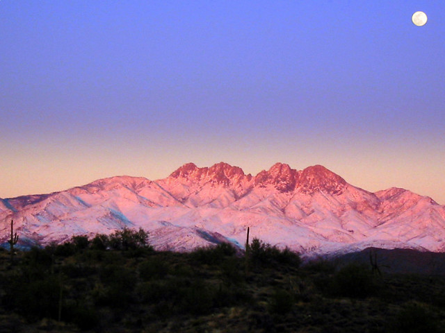 Snowy Four Peaks Moonrise I Cant Take Credit For This Bu Flickr