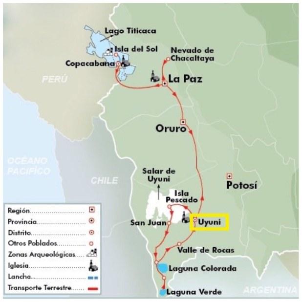 Mapa Uyuni, Bolivia