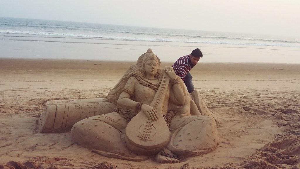 Sand Art Goddess Saraswati by Manas Kumar Sahoo  at Golden Sea Beach Puri