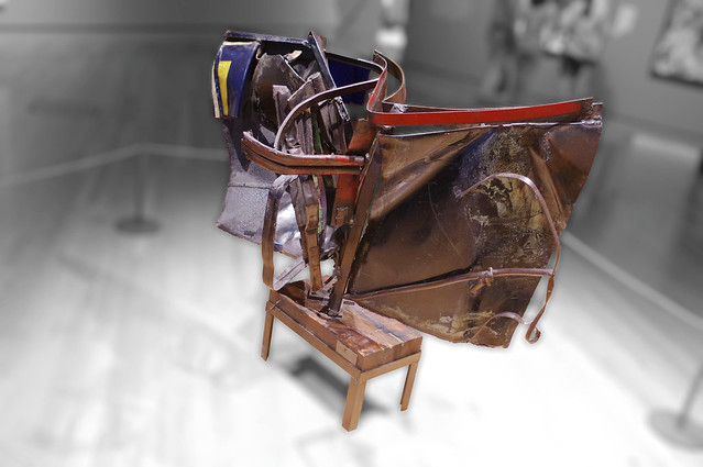 Swannanoa/Swannanoa II, Painted and chromium-plated steel with wood and metal base, 1959/1974, John Chamberlain, Crystal Bridges Museum of American Art, Bentonville, Arkansas, August 1, 2015