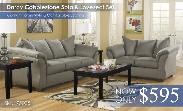 Darcy Cobblestone Sofa & Loveseat 75005-38-35-T281