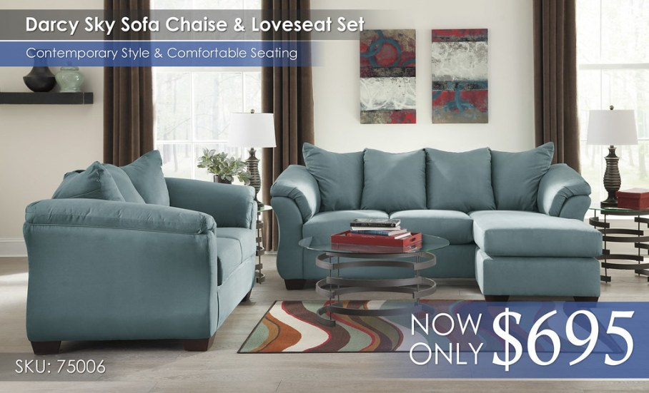 Darcy Sky Sofa Chaise & Loveseat 75006-18-35-T408