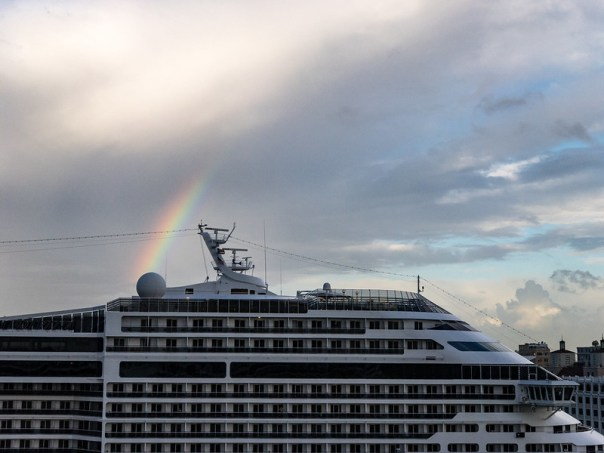 Rainbows over the cruise ship