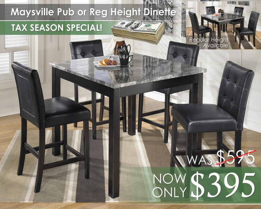 Maysville Pub or Regular Height Dinette D154-223