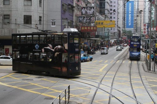 Tram #4 joins the main line from the Happy Valley loop