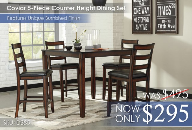 Coviar 5-Piece Counter Height Dining Set D385