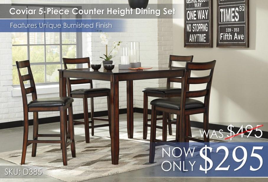 Coviar 5-Piece Counter Height Dining Set D385