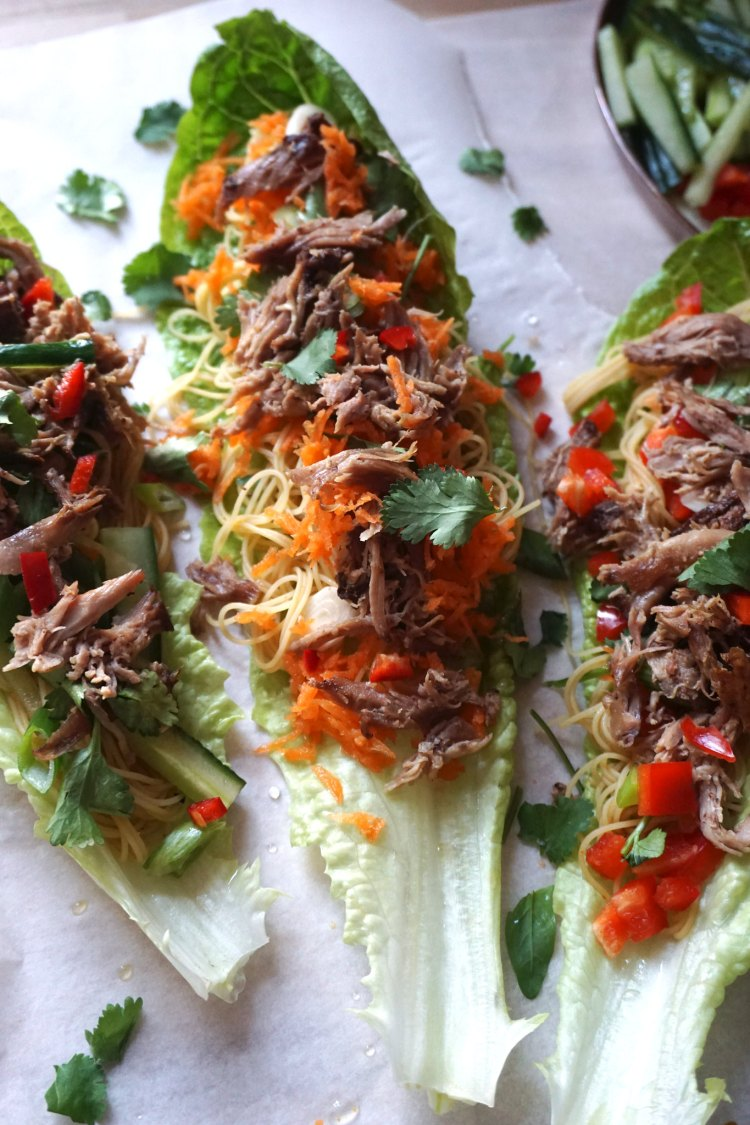 Gluten free Chinese crispy duck lettuce wraps made with easy basic Singapore noodles