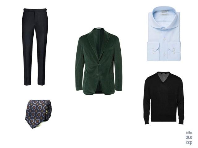 Combinar blazer para hombre verde con corbata, jersey negro, camisa azul y pantalones de vestir masculinos oscuros