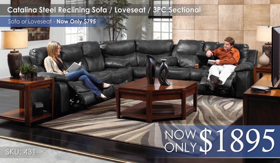 Catalina Steel Reclining Sofa Love Sectional 431