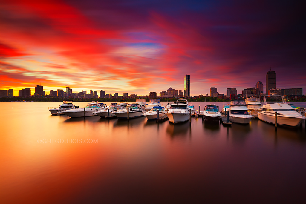 Fiery Sunrise Over Boston Skyline And Charles River With H