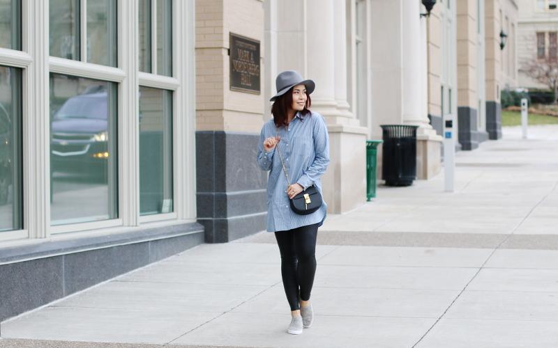 fedora-hat-club-monaco-button-down-shirt-spanx-leggings-2