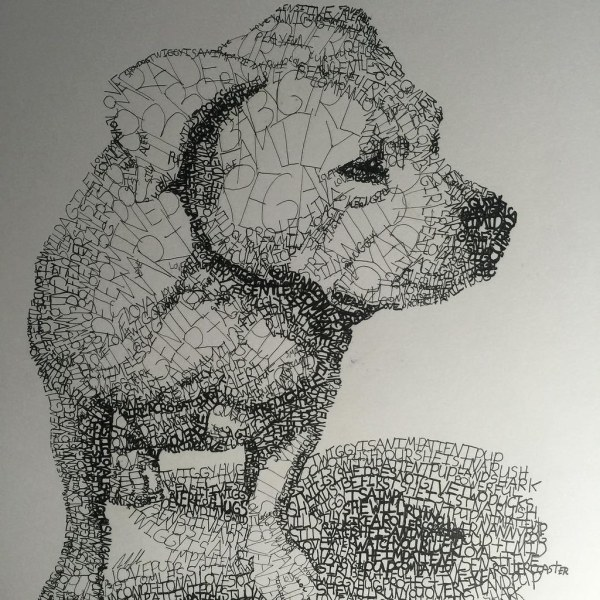 Finish drawing of twiggy the pup. Made out of words used t ...