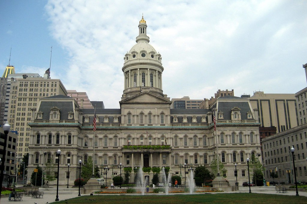 Baltimore City Hall Baltimore City Hall Situated On A Ci Flickr