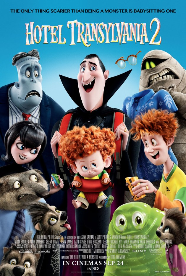 Adam Sandler, Selena Gomez, Kevin James, Steve Buscemi, Keegan-Michael Key, Molly Shannon and Fran Drescher lend their voice talents to Hotel Transylvania 2. Poster credit: Sony Pictures