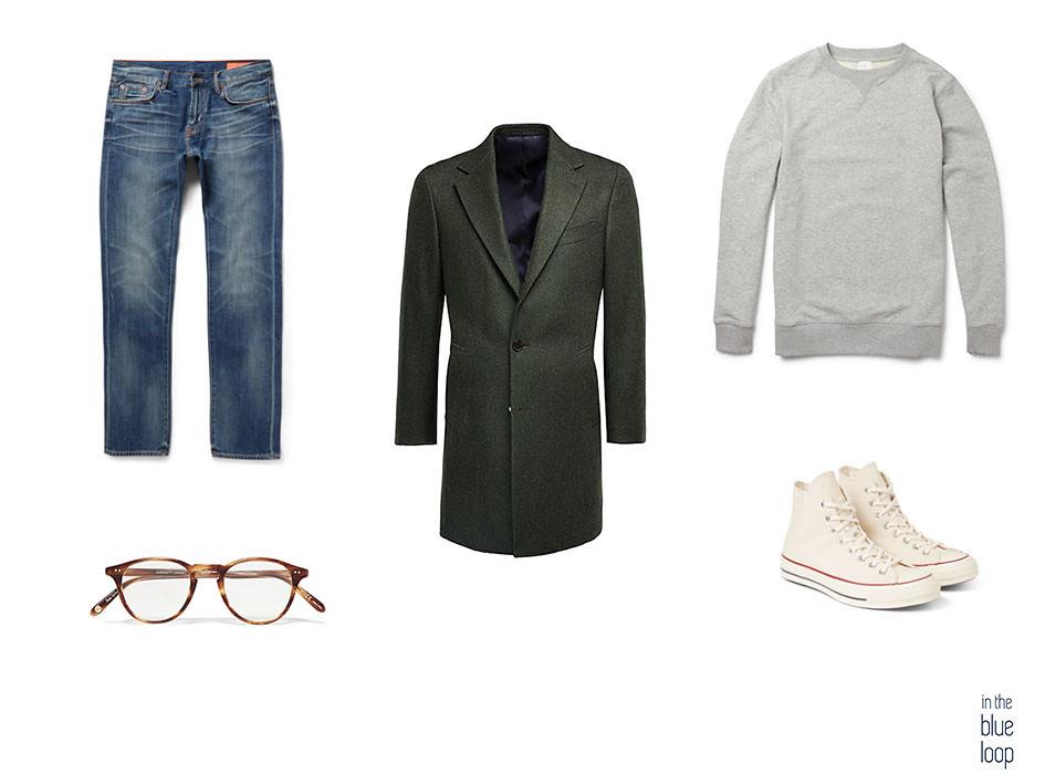 Abrigo masculino largo combinado con look casual de vaqueros, sneakers converse o zapatillas, sweater y gafas de pasta de carey para hombre